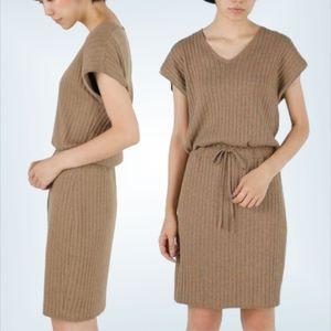 Moussy Ribbed Knit Camel Tan Dress